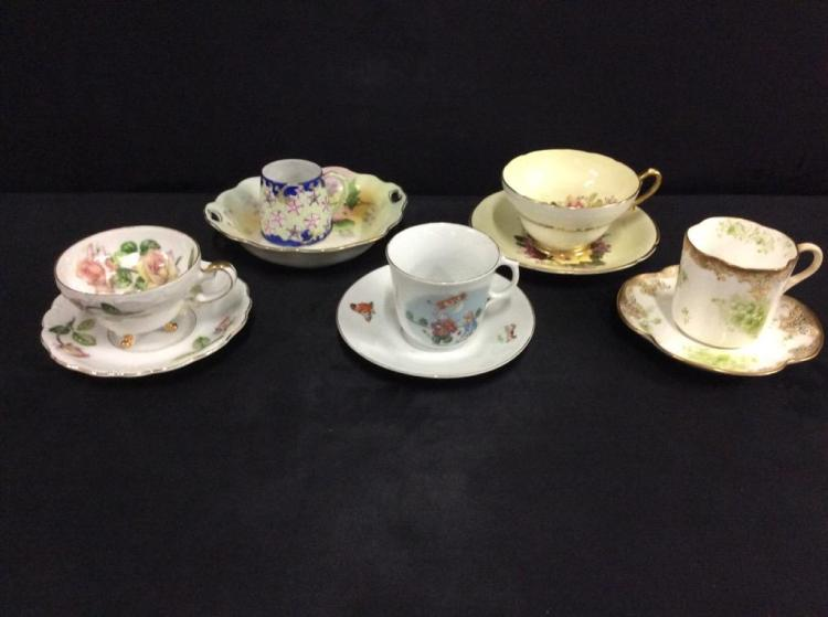Selection of teacups and saucers, ansley, doulton, nippon, stanley, germany