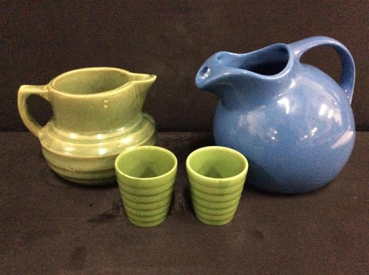 Vintage 40's-60's Pitcher set w/ additional Hall Mid Century pitcher