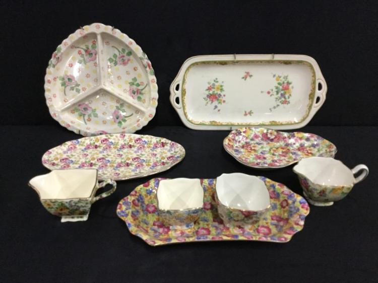 Set of vintage cup and platter sets & misc plates - royal winton, james kent, radford