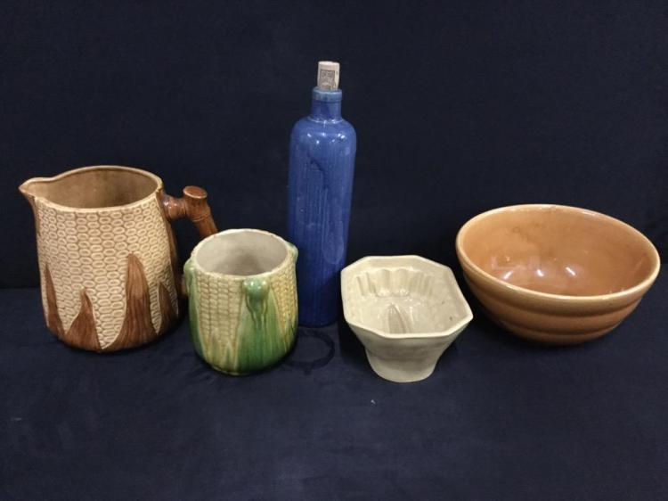 Set of vintage Stoneware bowl,mold,corn pitcher, and bottle
