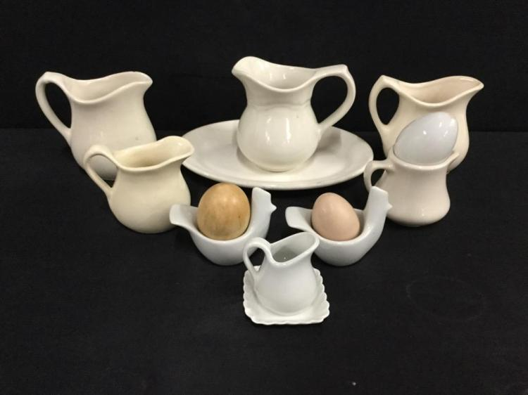 Nice set of vintage white porcelain ewers/pitchers/creamers & eggcup