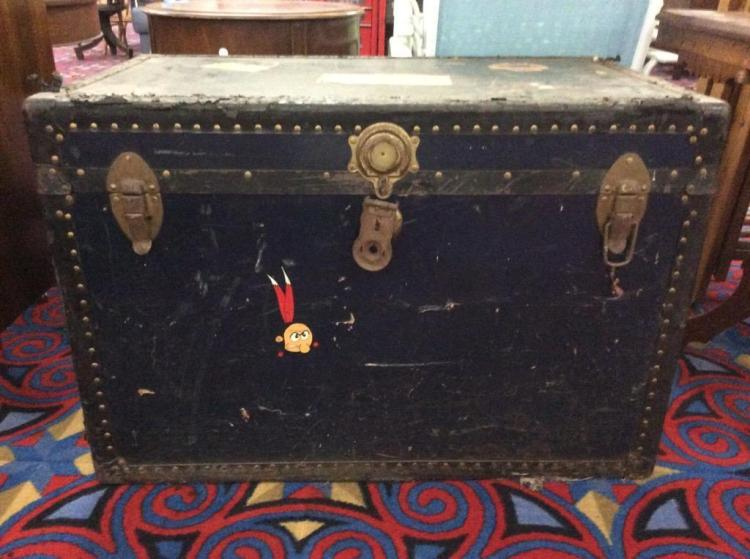 Antique Steamer Trunk w/ lots of cool advertising / stickers from places traveled