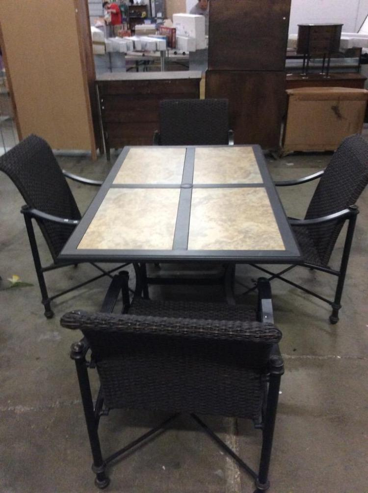 Modern Faux Granite Tile Top Patio Table w/ four all weather chairs