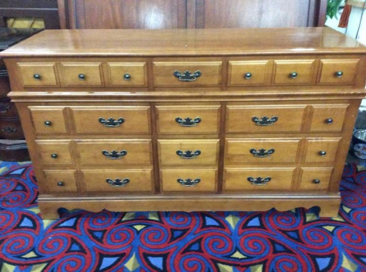 Lovely Mid Century Ethan Allen Style Long Dresser with Batwing Pulls