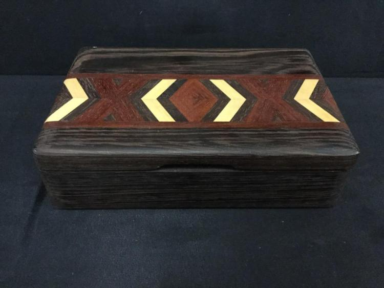 Unique Custom Mens Jewelry Box by Local Oregon artist Chuck Stewart - several types of wood