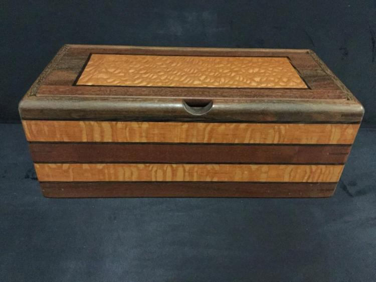 Nice Custom made wood Jewelry Box by local Oregon artist Chuck Stewart - several types of wood