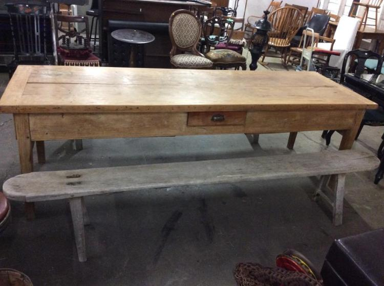 Amazing Antique early 1800's Long French Farm Table w/ original benches - wow!