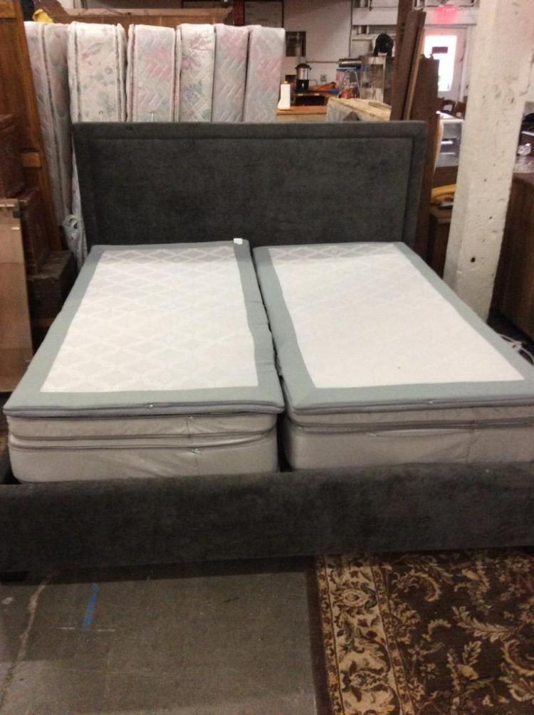 A split King dual temp sleep number bed w/ 2 remotes, extra padding, charcoal chenille custom frame.