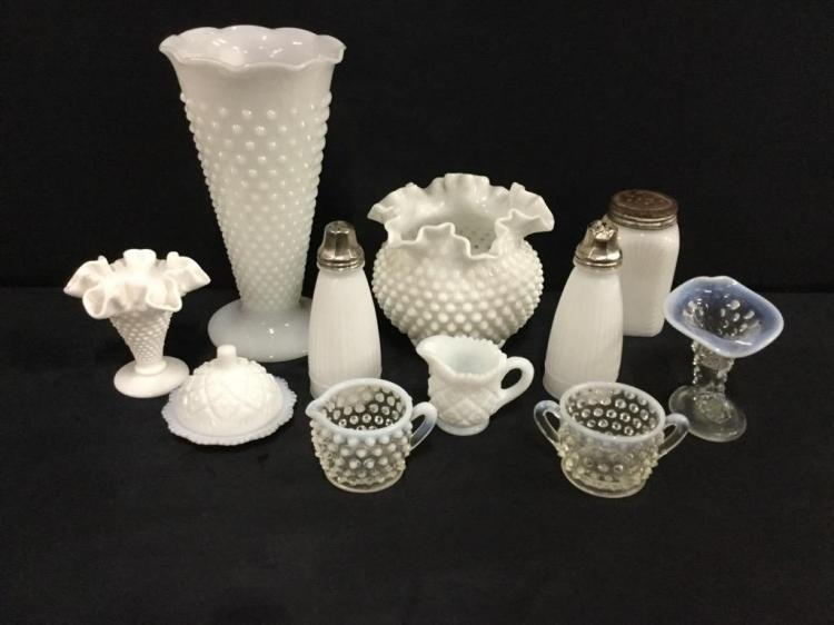 Fantastic Collection of milk glass - frosted and more - almost all hobnail