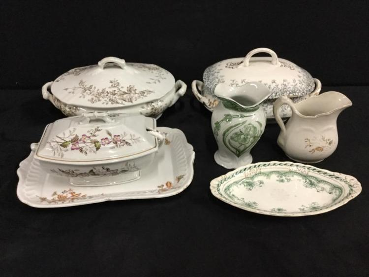 Nice set of vintage porcelain tureens and serving pieces