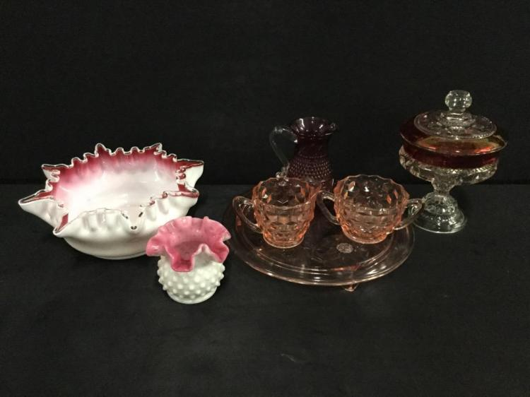 Gorgeous set of ruby compote, depression glass, and pink and white milk glass