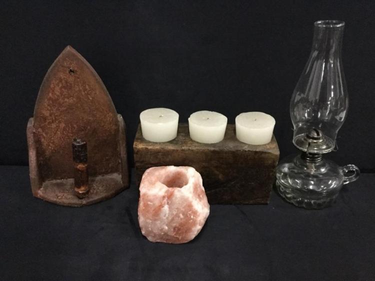 Lovely set - incl antique wood sconce,oil lamp, salt rock, etc