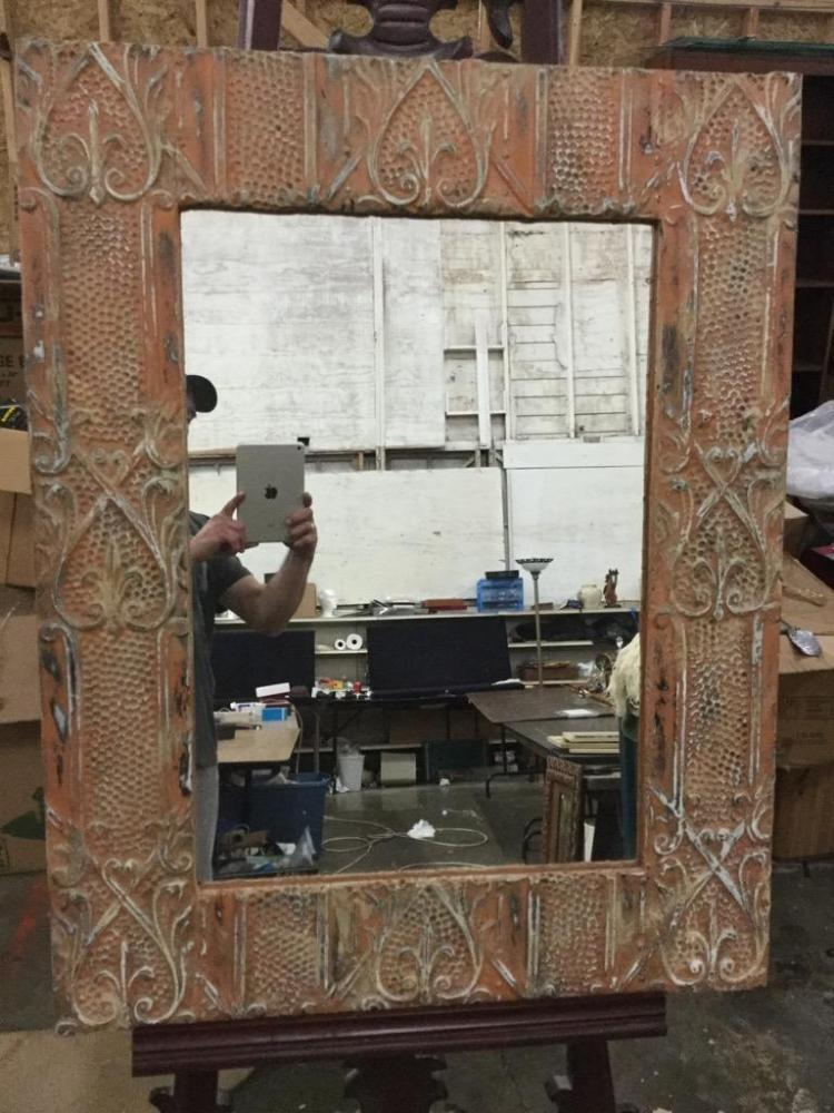 Great Antique Mirror with frame made from antique east coast clay ceiling tiles - priced $275