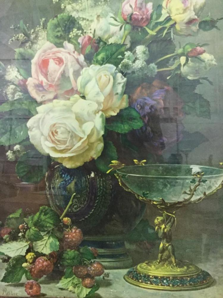 Antique Still Life Print in ornate gidled frame