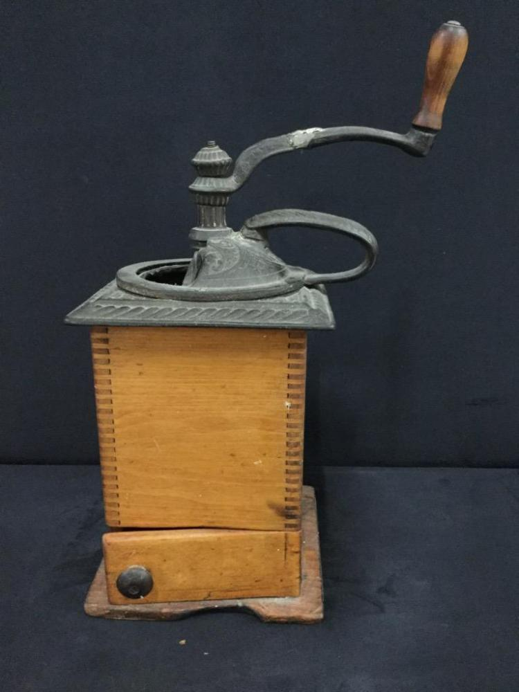 Antique Cast Iron and Wood hand crank coffee grinder