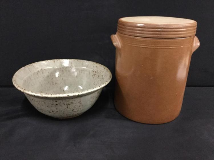 Antique Crock with flat lid and dual handles plus crockery bowl