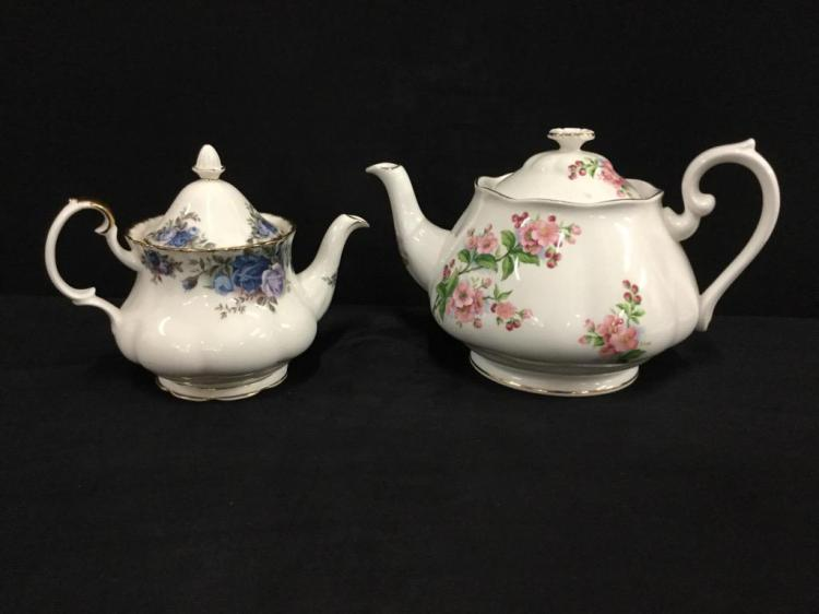 Royal Albert Moonight Rose and Evesham Teapots