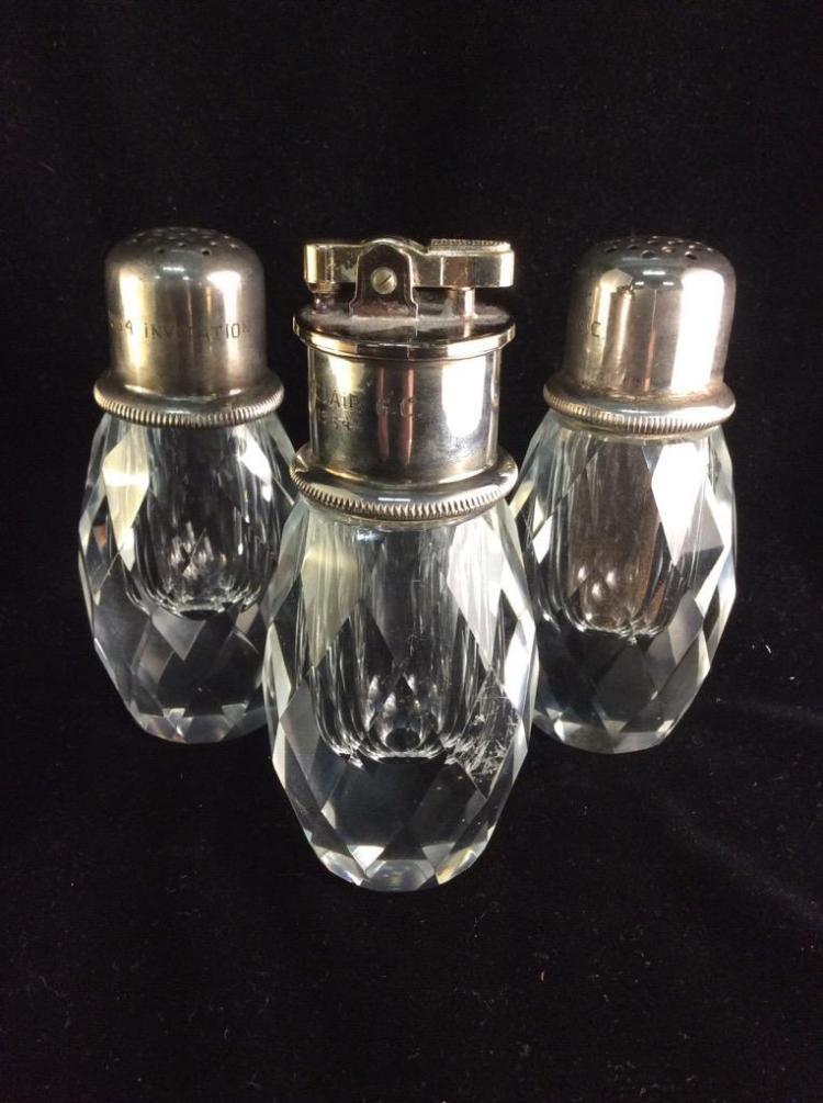 1964 Montclair Invitational Golf Tournament Crystal & Silver plate salt, pepper & table lighter set