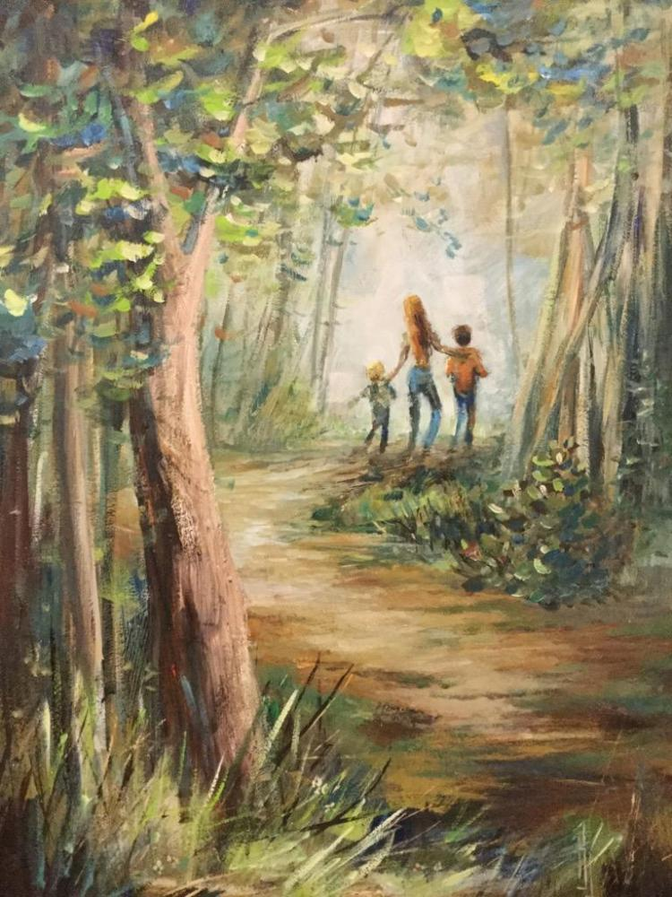 Lovely Original Oil Painting of a family in the woods in an ornate frame