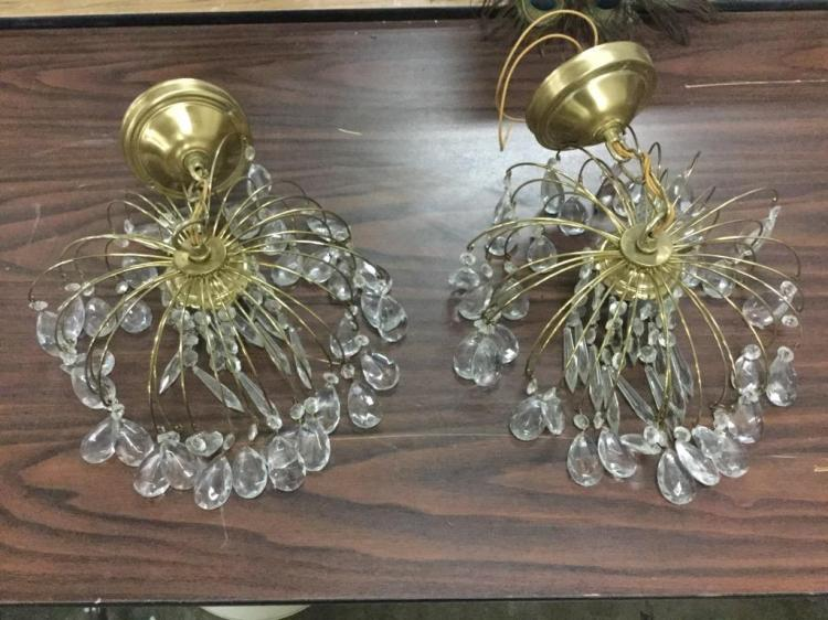 Set of two brass and Crystal light fixtures - deco
