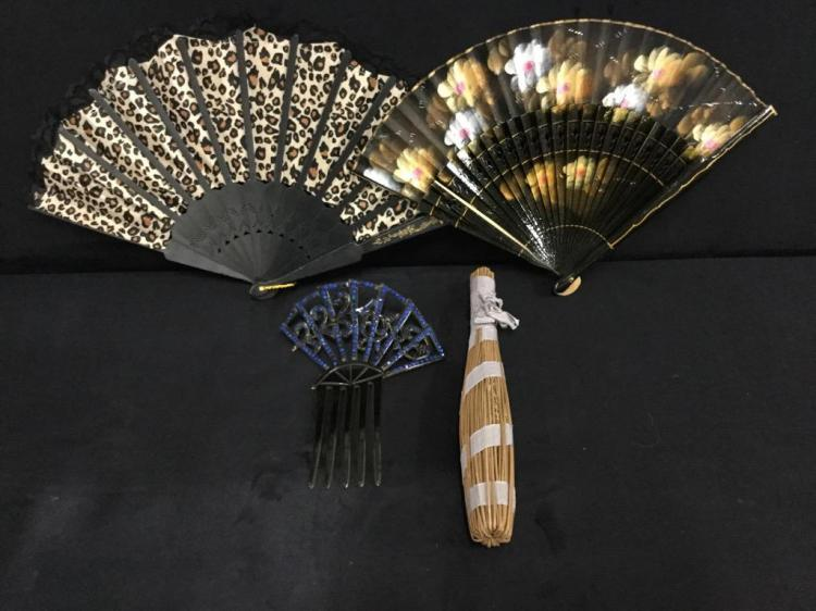 3 vintage asian fans and decorative hairpiece