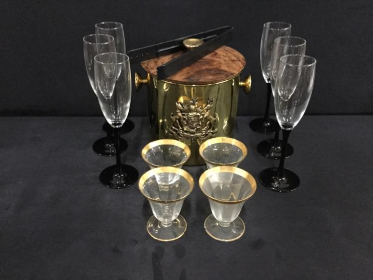Selection of vintage glasses and ice bucket