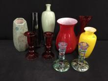 Selection of nice art glass vases and candlesticks