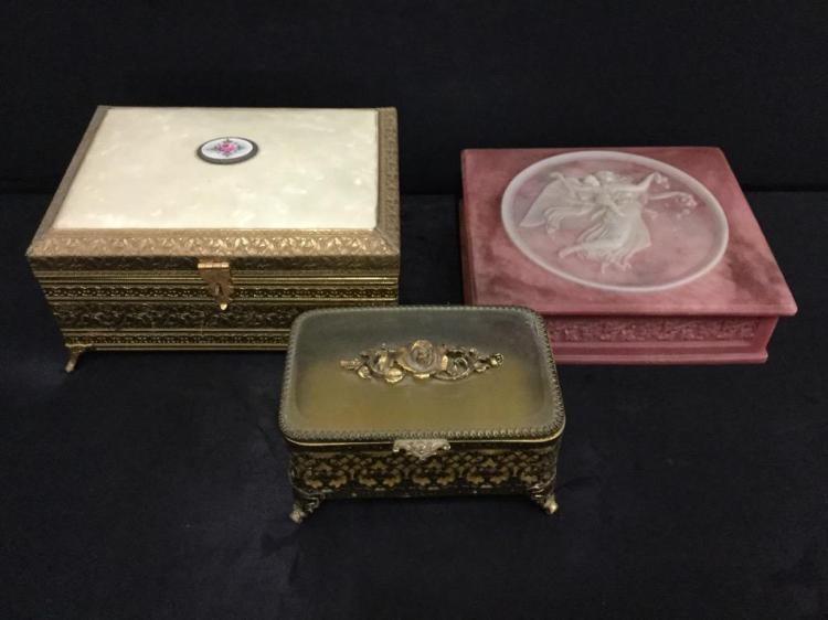 Set of vitnage jewelry boxes incl. incoclay pink deco box