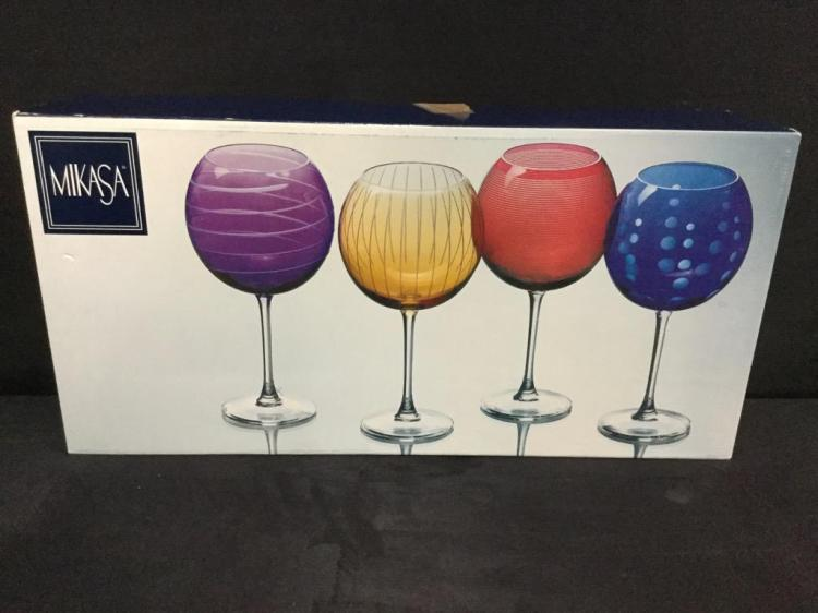 Selection of 5 like new in the box Mikasa Wine Goblets - various designs see pics