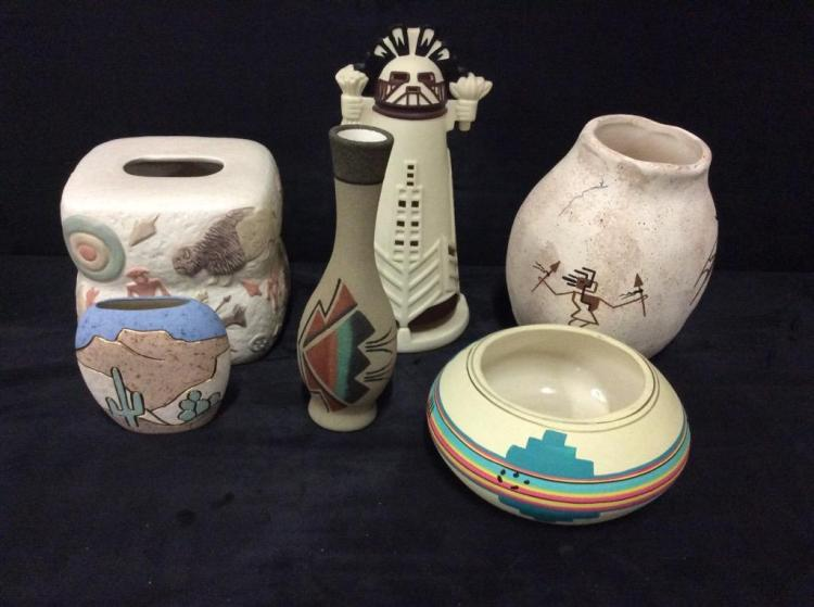 Selection of Native American and Native American Inspired Vases , Bowls ,etc