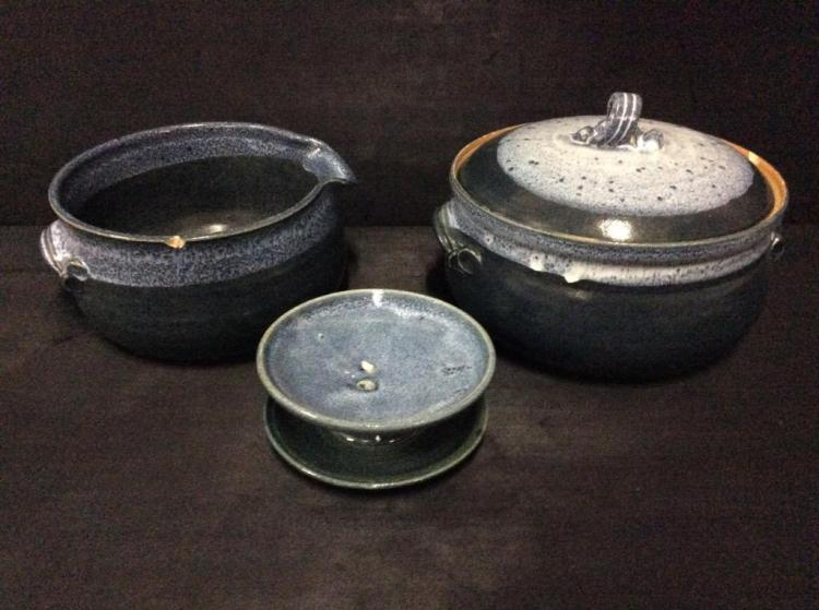 Gorgeous hand thrown and glazed Pottery Set signed