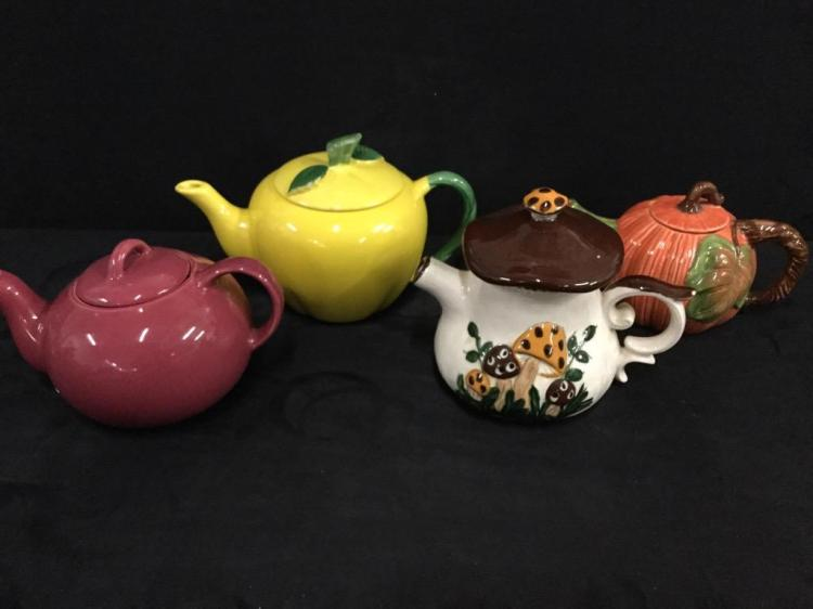 Set of four teapots - mushroom, pumpkin, etc