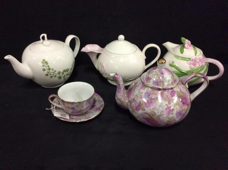 Selection of 4 Flower Themed Teapots
