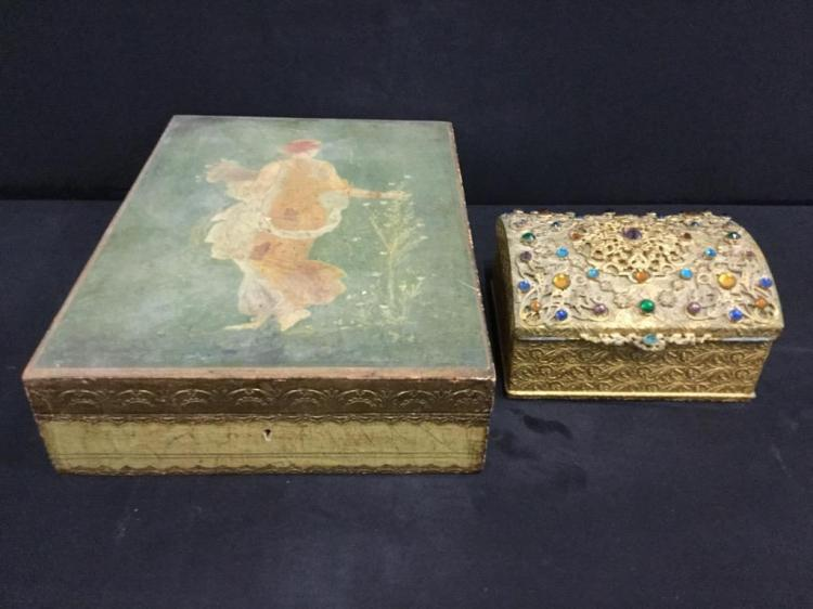 Vintage hand painted wooden box and vintage jewelry box