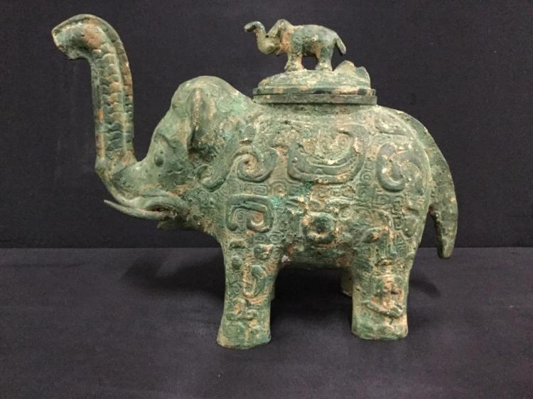 Antique/Vintage Cast Elephant vessel with elephant topper lid - Asian?