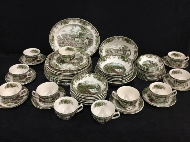 Antique Johnson Bros Transferware china set - most one pattern