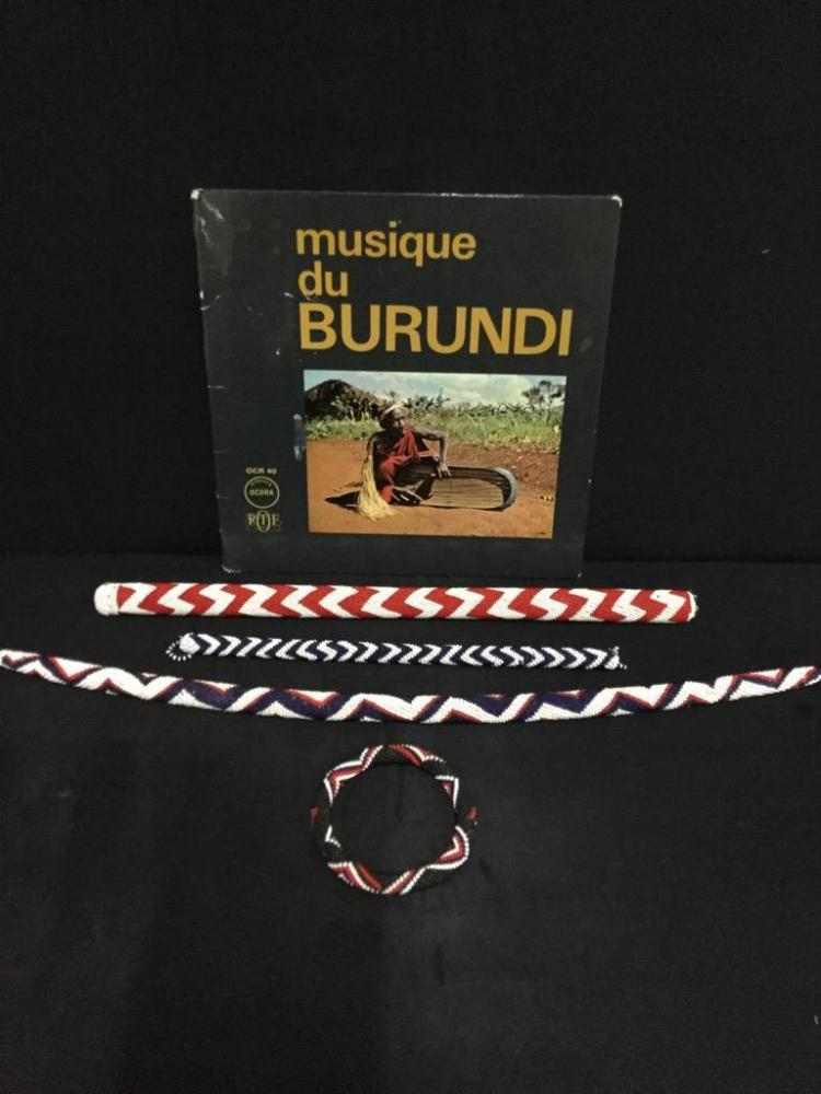African Bead work bracelet and music sticks w/ album