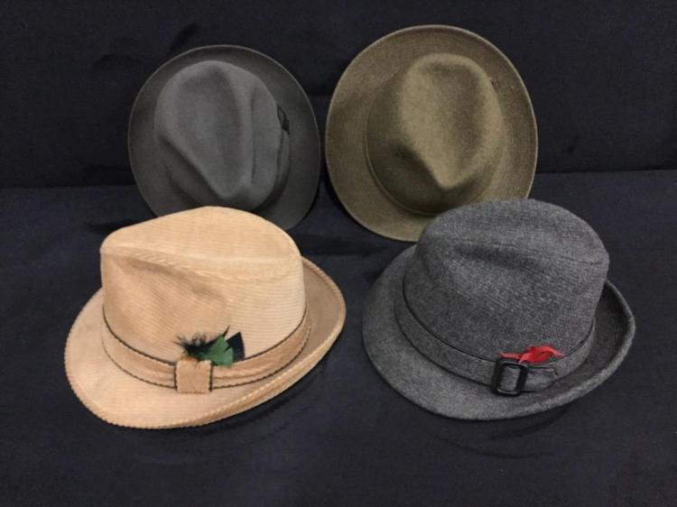 Collection of vintage mens hats - fedoras and such