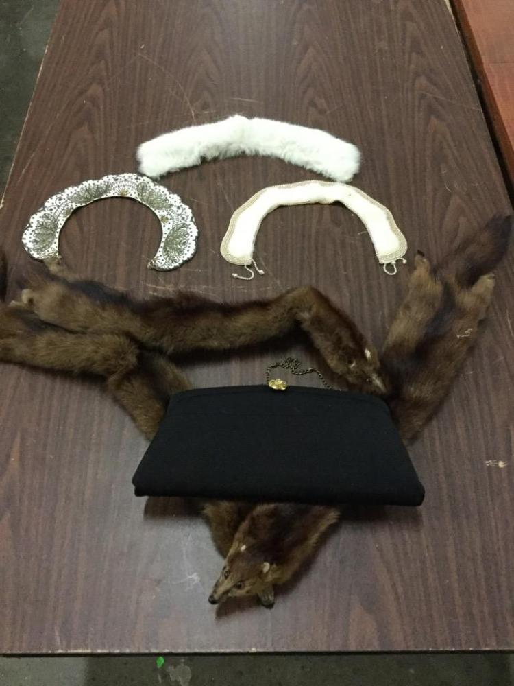 Selection of vitnage stoles/collars - some fur - and purse