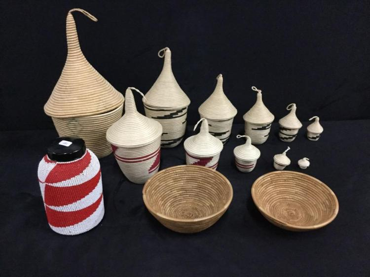 Wow Amazing Selection of African nesting baskets, baskets and beaded jar