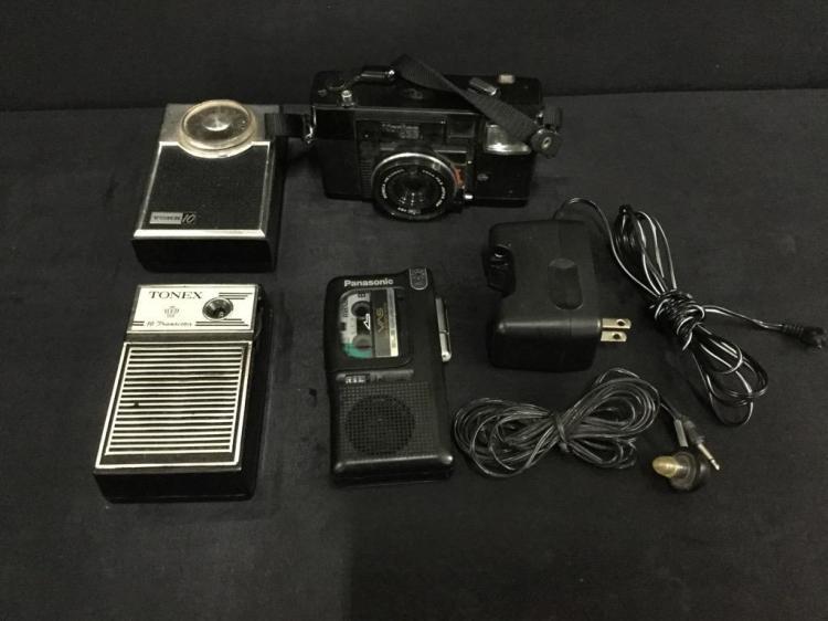 Vintage Konica camera, Tonex & Vorr transistor radios and recorder