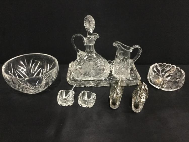 Antique Crystal Service set w/ salt cellars incl. rare swan back salt cellar and 2 bowls