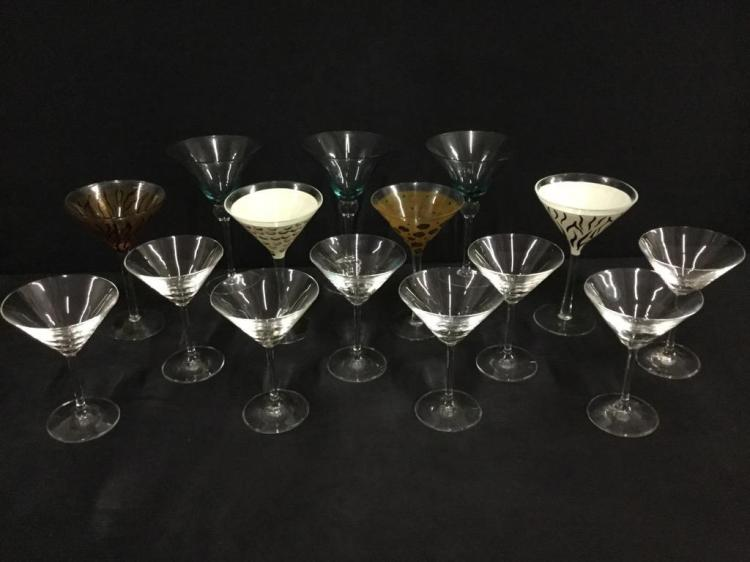 Large selection of martini glasses incl. funky patterns like leopard print