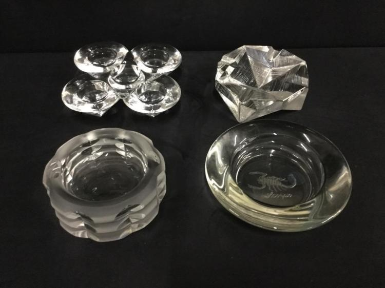 Set of four vintage crystal ashtrays and one mid century candleholder