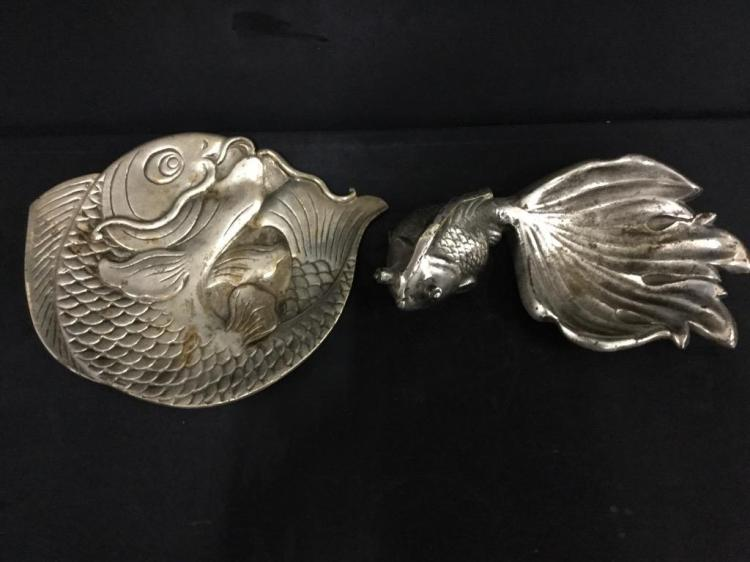 Vintage pewter Fish Trays/Plates - japanese koi fish