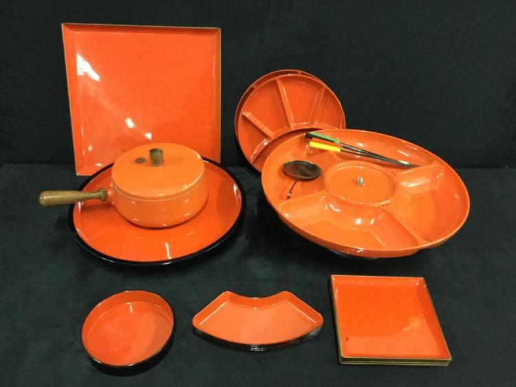 Mid Century - Late 60's Orange Fondue Set with plates and more