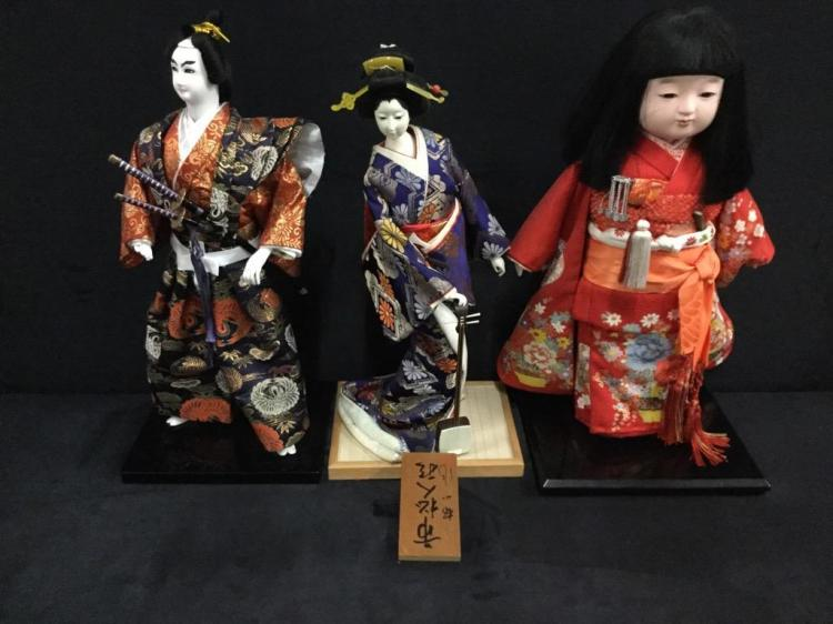 Set of three vintage cloth japanese dolls