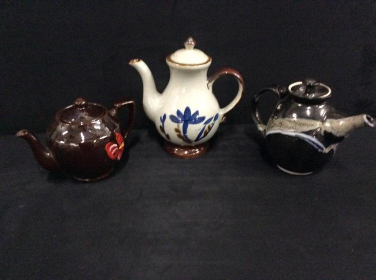 Set of three Clay Teapots - earthenware style - including hand painted Sukie Adams Teapot