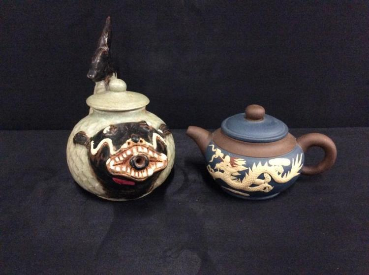 Set of two Chinese Clay Teapots- Antique Crude Fish Tea pot and Vintage small Dragon theme teapot