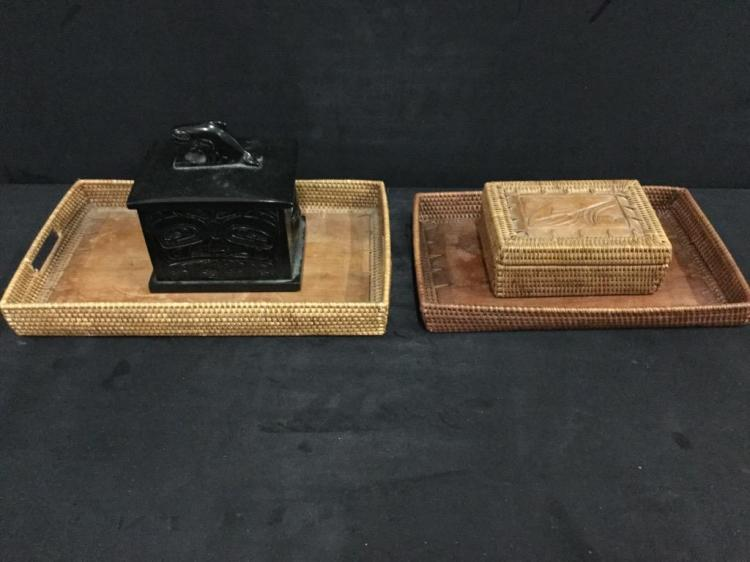 Set of Inuit Alaskan Native Jewelry / Stache Boxes and Basket Trays
